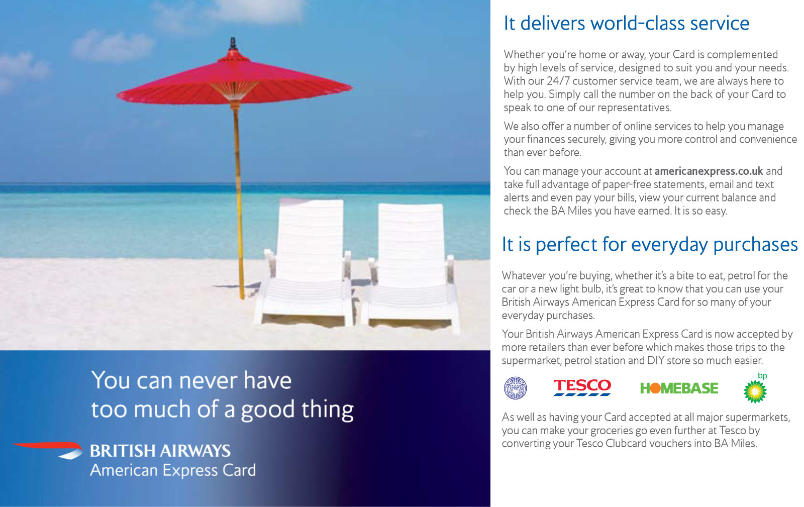 British Airways. American Express - Customer mailer
